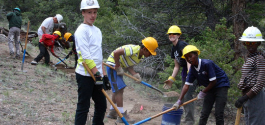 Boy Scouts working on the Cottonwood Trail..